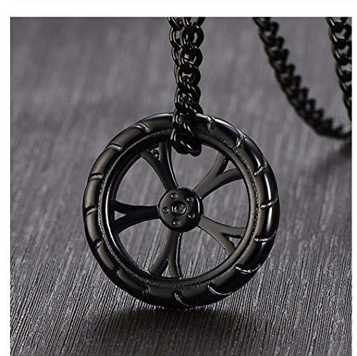 GUXUE Hombre Neumático Racing Wheel Colgante Collar de Acero Inoxidable Hip Hop Neumáticos Biker Jewelry