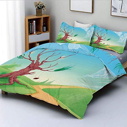 Juego de funda nórdica, paisaje romántico con árbol y un columpio por camino de camino en viento Estampado de dibujos animados Juego de cama decorativo de 3 piezas con 2 fundas de almohada, marrón azu