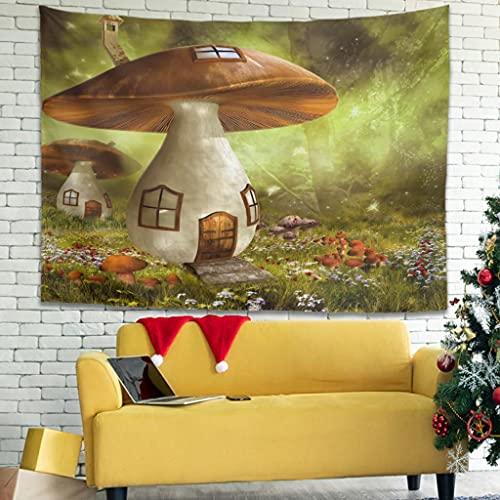 Buweirezhi Tapiz de pared con dibujos animados de cuento de hadas de seta y bosque de seta con arte de alta calidad para colgar en la pared para dormitorio (230 x 150 cm), color blanco