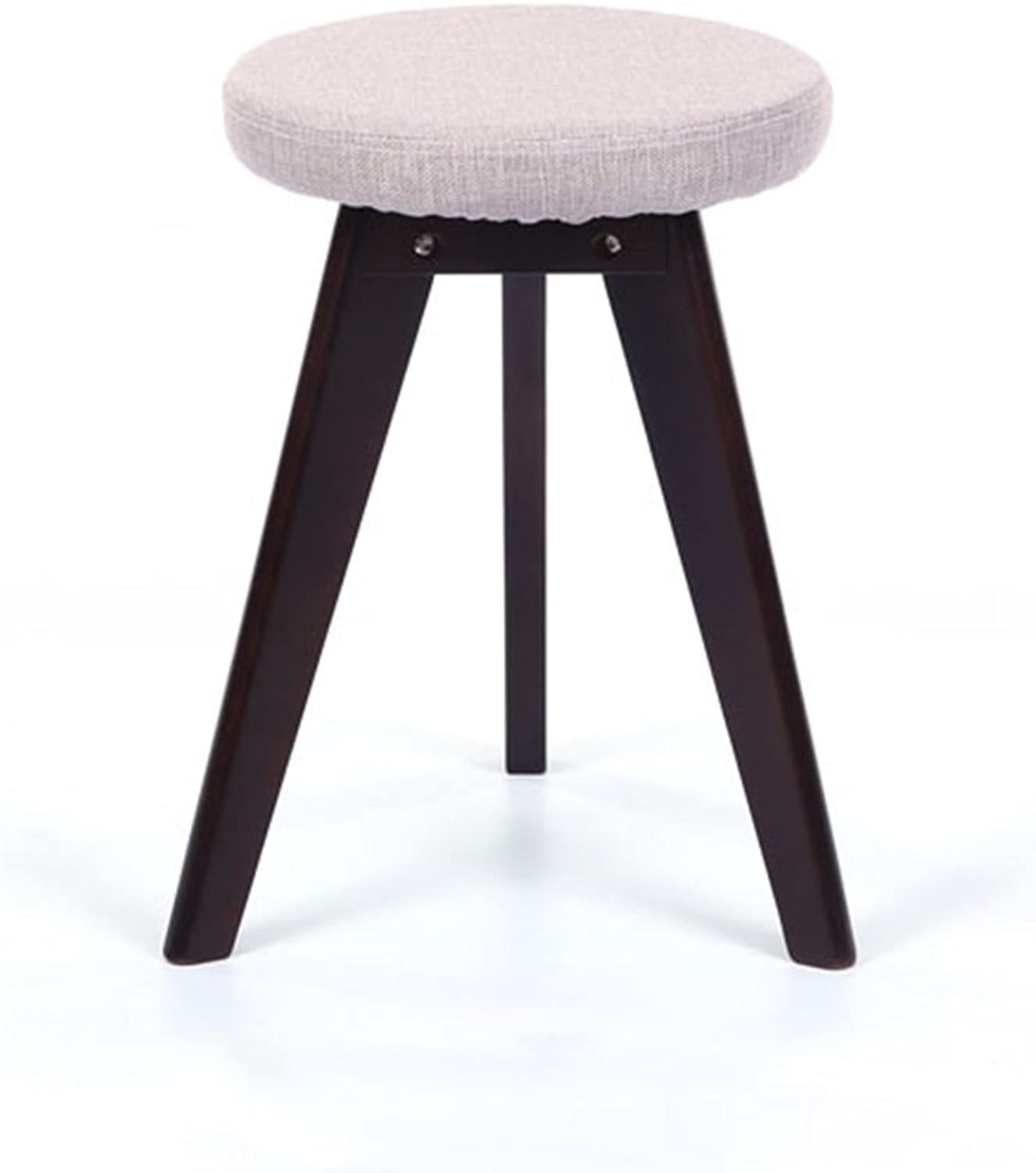 SYF Footstool Beige Creative Solid Wood Footstool Change shoes Stool Makeup Stool Brown Foot Cloth Dining Chair Stool A+