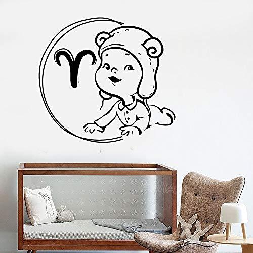 wZUN Zodiac Baby Wandaufkleber Widder Sternbild Kinderzimmer Dekoration Vinyl Wandtattoo 67x63cm