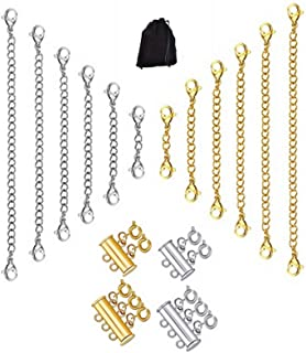 Exceart 10PCS Round Clasp Necklace Jewelry Making Extender Clasps Stainless Steel Magnetic Buckles for DIY Jewelry Bracelet Necklace Supplies Silver Size S