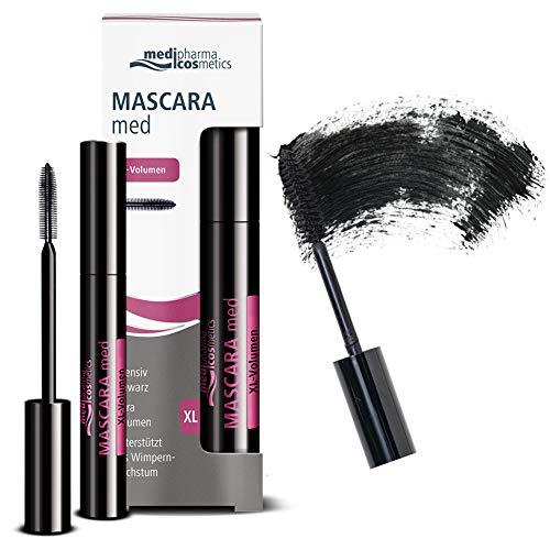Medipharma Cosmetics Black Mascara Med XL Volume - Natural Paraben Free Eyelash Growth Mascara for Stronger Longer Eyelashes - Made for Sensitive Eyes, Contact Lens, Best Eye Makeup