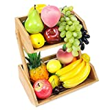 Bamboo Fruit Basket Holder, Vegetable Bread Storage Stand, 2-Tier Standing Basket Organizer, Perfect for Kitchen, Home, Office, Dining Room, Supply Room and Guest Room