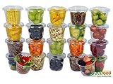 Pot Rond à Dessert de 114 g | pour Sauce à emporter | Pot de Yaourt, Bols de Salades, Mini-récipients de Vinaigrette, de condiments (Couvercles inclus) (250 Pcs)