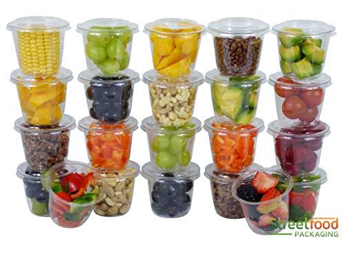 Contenitore curvo per dessert, 113,4g | Ideale per salse, servire yogurt e insalate | Coperchi inclusi , 5