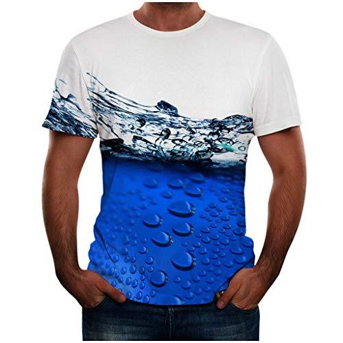 Herren T-Shirt, Luotuo Creative 3D Regentropfen Drucken Kurze Ärmel Rundhalsausschnitt Top Casual Sport Oberteile Kurzarmshirt
