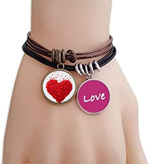 Shaped Red Hearts Valentine's Day Love Bracelet Leather Rope Wristband Couple Set