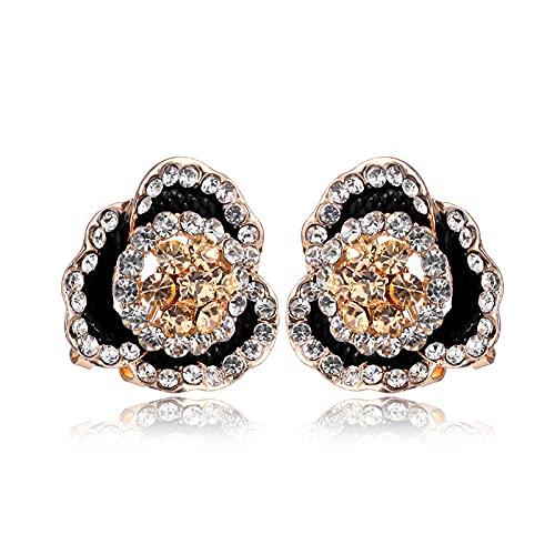 LBMTFFFFFFF Gioielli Europei e Americani Orecchini Rosa pieni di Diamanti Fiori Orecchini Luminosi Orecchini in Lega di Diamanti Orecchini, Orecchini, Orecchini Pendenti