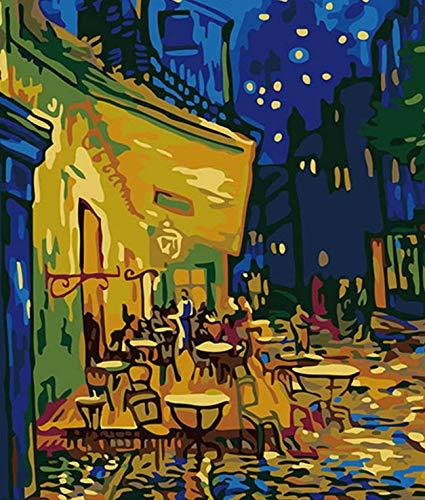 CUNYA DIY Gemälde nach Zahlen Van Gogh Bild Kaffee Farbe nach Zahlen Handbemaltes Ölgemälde für Wohnkultur DIY Geschenk