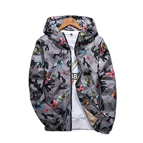 Herren Casual Camouflage Hoodie JackeFrühling Herbst Schmetterling Druck Kleidung Herren Kapuze Windbreaker Mantel Herren Outwear
