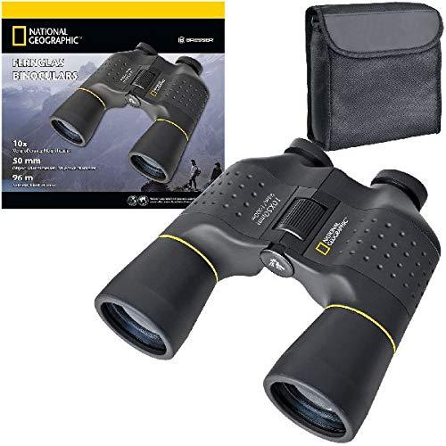 National Geographic Fernglas 10x50 Porro mit Mitteltriebfokussierung, robuster Gummiarmierung und Stativanschlussgewinde inklusive Transporttasche