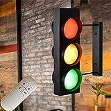 Feu de Circulation Appliques Murales Double Face L'industrie Rétro Bar Café Maternelle LED Rouge Vert Lampe Tricolore Lampe Voyant D'avertissement Décorative avec Interrupteur à Distance Spots Muraux
