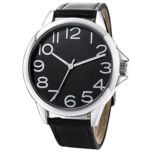 NUOVO Herren Uhr Analog Quarz mit Schwarz Leder Armband Wasserdicht K170044-1G-BLA