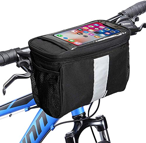 MATTISAM Bike Handlebar Bag, Bike Basket with   Mesh Pocket - Cold & Warm Insulation - Reflective Strap - Touchable Transparent Phone Pouch   Bicycle Front Bag, Bike Pouch for Cycling, Women, Cruisers