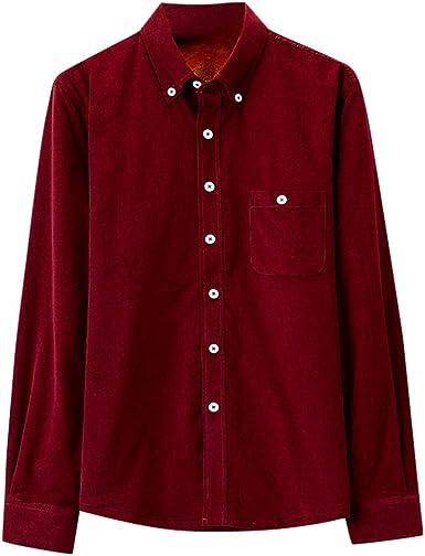 Camisa de Pana cálido de Hombres Manga Larga Blusa de botón ...