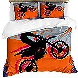 Feelyou Cooles 3D-Motorrad-Bettbezug-Set für Jungen & Herren, Speed-Motocross, Bettbezug, Reitthema, Bettwäsche-Set, orangefarbene Tagesdecke, Bezug mit 1 Kissenbezug aus Mikrofaser, Reißverschluss