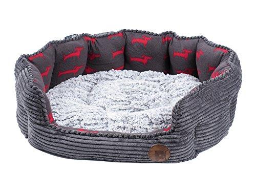 Petface Deli Hundebett aus Bambus und Jumbo-Kordel, Größe S, Grau