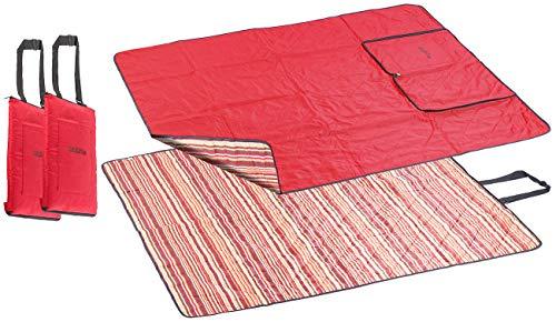 PEARL Strandmatte: 2er-Set 3in1-Multi-Picknickdecken mit Sitzkissen & Zudecke, 150x130 cm (Mehrzweck-Picknickdecke)