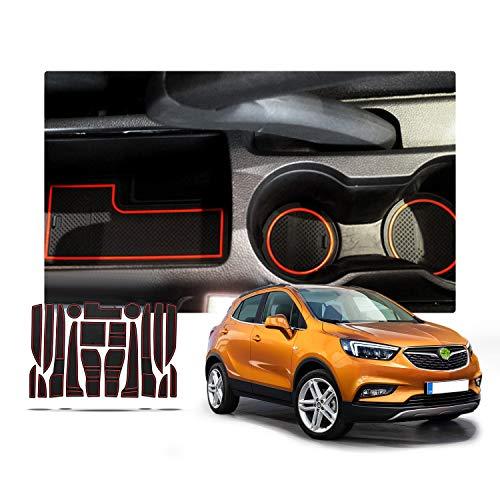 RUIYA rutschfest Auto Innere Türschlitz Arm Box Aufbewahrung Matten Pads für 2016 2017 2018 Opel Mokka X, Anti-Staub-, Tor-Schlitz-Auflage, Schalen-Matte, Automobildekoration mit Logo (Rot)