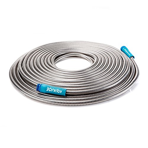 Aqua Joe AJSGH75 1/2' Heavy-Duty Spiral Constructed Stainless Steel Garden Hose, 75 Foot