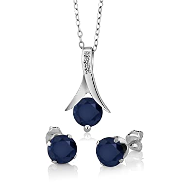 Gem Stone King 925 Sterling Silver Blue Sapphire & White Diamond Pendant Earrings Set, 3.05 Ct Round with 18 Inch Silver Chain