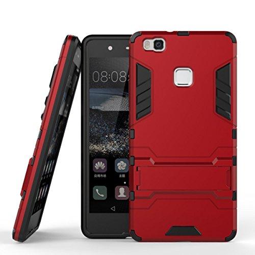 Huawei P9 Lite Custodia, Huawei P9 Lite Cover, MHHQ 2 in 1 nuovo Armour stile resistente Hybrid Dual Layer Armatura Defender PC + TPU Custodie con supporto [Custodia antiurto] per Huawei P9 Lite -Red