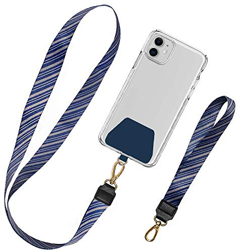 takyu 2 Stück Handykette Universal, Schlüsselband Lanyard Schlaufe Abnehmbar Umhängeband Kompatibel mit iPhone/Samsung/Huawei/Xiaomi (Lebendiges Blau)