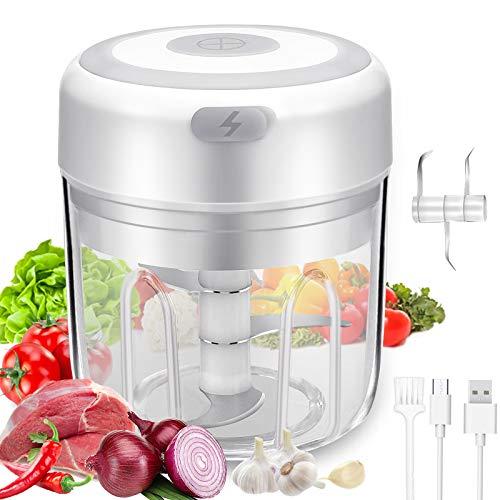 OFFTESTY Mini Picador de Alimentos Eléctrico,Licuadora de Cocina,Carga USB, Procesador de Alimentos Para Carne, Ají, Nueces, Vegetales, Fabricante de Alimentos Para Bebés 250ML
