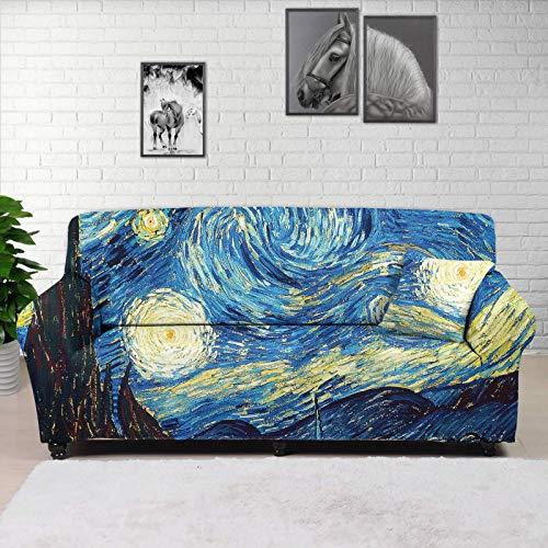 Hugs IDEA Starry Night By Vincent Van Gogh - Copridivano super elasticizzato, tessuto jacquard spandex con fondo elastico per cani, gatti, bambini, lavabile per 3 cuscini divano