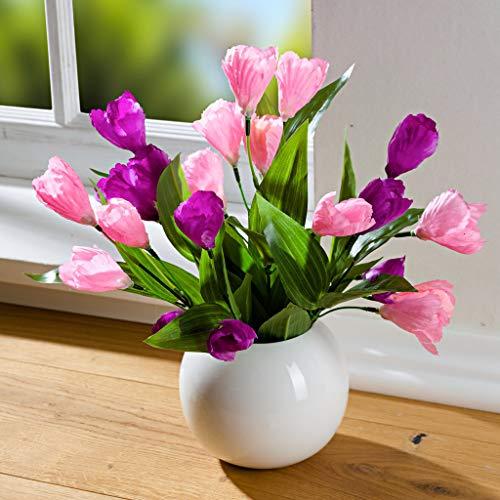 Dekoleidenschaft Krokus Bouquet lila + rosa, 36 cm hoch, Kunstblumen-Strauss, künstliche Blumen