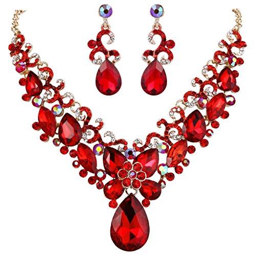 Clearine Damen Böhmisch Boho Tropfen Marquise Schmetterling Filigran Statement Halskette Dangle Ohrringe Set Orange Rot Gold-Ton