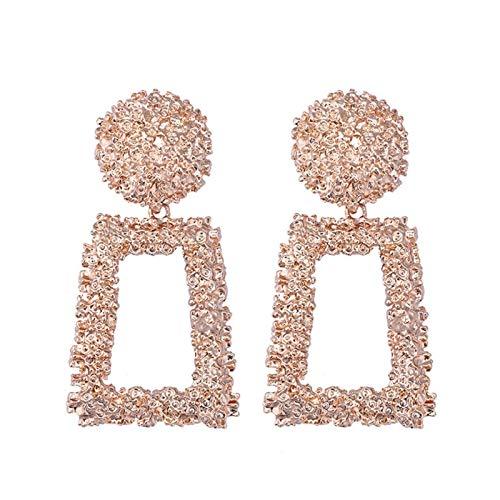 JINGGEGE Pendientes cuelgantes de Gota de Metal Grande para Mujeres Geométrico Boda Joyería Joyería Oro Gran declaración Pendientes 6 Colores (Metal Color : Rose Gold)