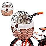XGZ Hundefahrradträger Mit Metallabdeckung Gewebter Fahrradkorb Vorderer Lenker Korbweide Fahrradkorb Haustierträger