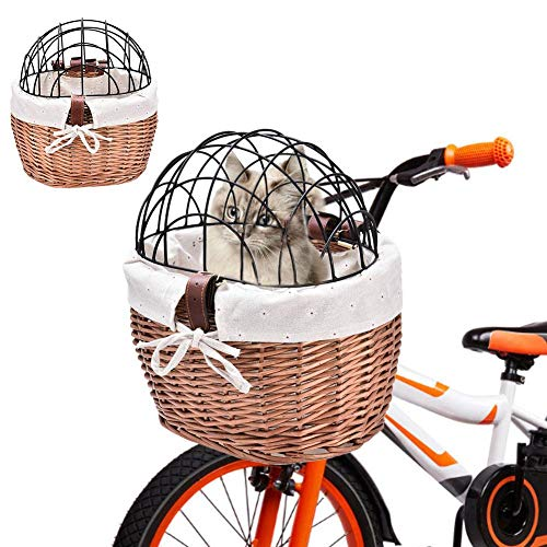 Bike Basket for Cats, Wicker Pet Cat Dog Carrier Bicycle Handlebar Front Basket with Metal Cover, Easy Install Detachable Shopping Bag, Multifunction Cycling Front Storage Basket
