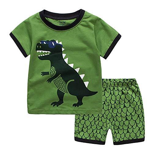 DTZW Conjunto de 2 piezas de ropa de verano de manga corta con patrón de dinosaurio de dibujos animados, 2 unidades