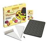 Guardini Coffret cadeau «Voglia di Macarons», 1 Plaque pour macarons + 30 poches pâtissières jetables + 1 douille ronde + 1 livre de recettes, Moule en acier anti-adhérent, noir