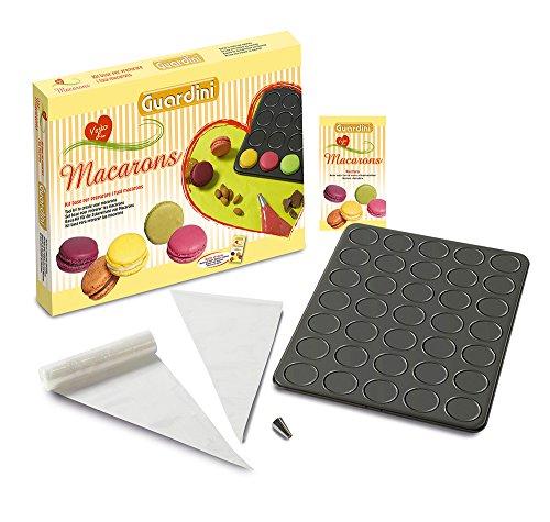 Guardini Coffret cadeau « Voglia di Macarons », 1 Plaque pour macarons + 30 poches pâtissières jetables + 1 douille ronde + 1 livre de recettes, Moule en acier anti-adhérent, noir