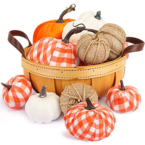 VGOODALL Juego de calabazas artificiales, 12 unidades, en diferentes diseños, color blanco y naranja, para Halloween, Acción de Gracias, decoración de otoño