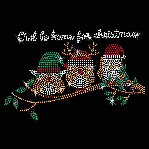 Twisted Envy Owl Be Home For Christmas Iron On Hotfix Diamante Motif Rhinestone Transfer