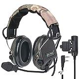 ZTAC Sordin - Auriculares de diadema deportivos, con PTT Kenwood, con micrófono protección auditiva de amplificador sonoro ideal para el Tir y la caza y Airsoft Z111 (negro)