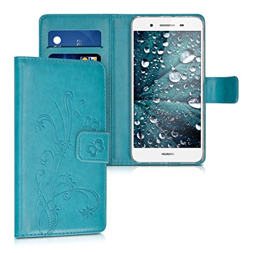 kwmobile Huawei GR3 / P8 Lite SMART Hülle - Kunstleder Wallet Case für Huawei GR3 / P8 Lite SMART mit Kartenfächern & Stand - Ranken Schmetterling Design Dunkelblau