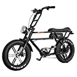 Addmotor MOTAN Electric Bicycle 20 Inch Fat Tire 750W Motor 48V 14.5Ah Lithium Battery Powered Assit Motorcycle Headlight M-70 Platinum Cruiser Retro E Bike for Adults Men(Black)