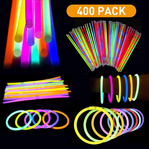 """Revanak Glow Sticks Bulk 400pk 8"""" Glowsticks; Glow Stick Bracelets; Glow Necklaces in The Dark Light Up Party Supplies with 400 Bracelet Connectors for Kids and Adults (400 Pack)"""
