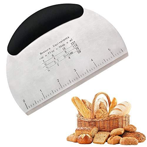 Raschietto Taglia Impasto in Acciaio Inox, Tagliapasta Tagliapizza per pasticceria con manico in silicone e scala di misurazione, Taglia Spatole Raschietto Utensili Cucina per Pane Pasta Pizza Torte