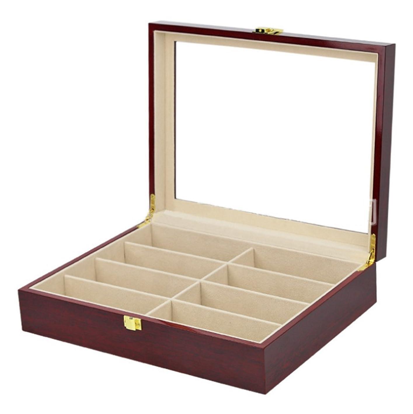 スキムうなる宗教木製 サングラス収納 ボックス 8本用 コレクション メガネ収納ケース ディスプレイ スプレーラッカー
