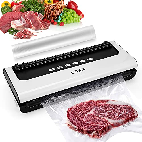 OTWEN Vacuum Sealer Machine, Automatic Food Sealer with Dry & Moist Food Modes for Food Savers, with Cutter and Vacuum Bags(≥0.32mm), Dry & Moist Food Modes, Led Lights, Easy to Clean, Compact
