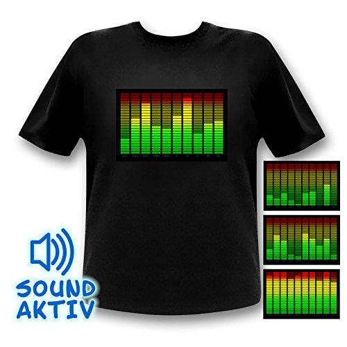 10-Kanal Equalizer LED T-Shirt Fun Party Shirt Mann (l) - 3