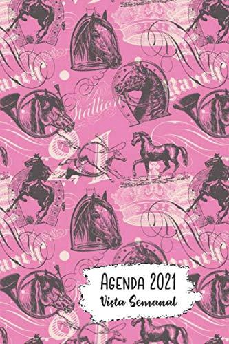 Agenda 2021 Vista Semanal: 12 Meses Programación Semanal Calendario en Español Diseño El Caballo