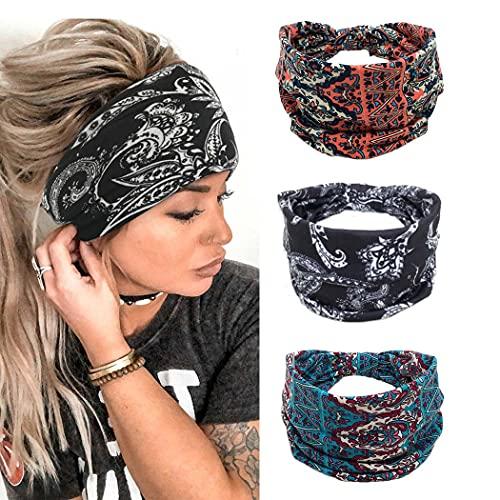 Yean Fascia per capelli larga per yoga e capelli, stile vintage, colore nero, per donne e ragazze, confezione da 3